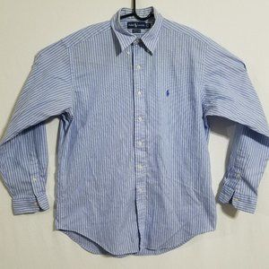 Ralph Lauren Mens 16-35 Blue Button Up Down Shirt